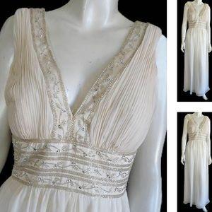 Oleg Cassini Silk Chiffon Gown Silvery Beading